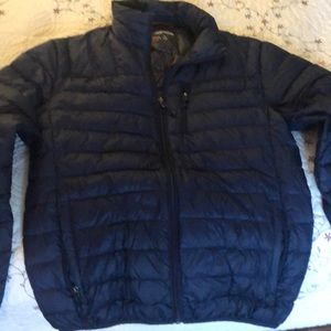 Men's dark blue down coat